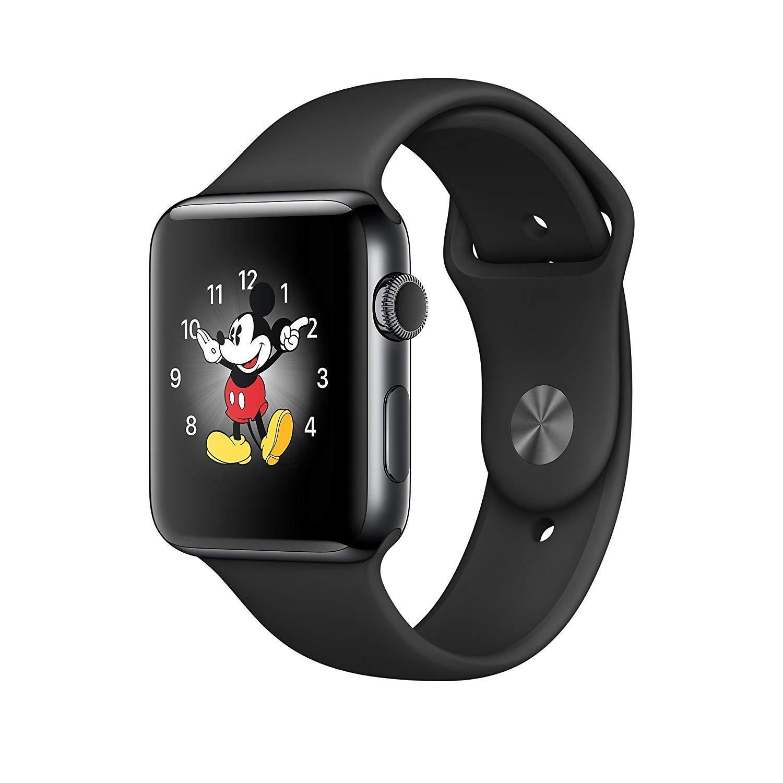 Apple Watch Series 3, 42 MM, GPS + Cellular, Space Black Stainless Steel Case, Black Sport Band (Renewed)